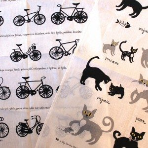 Bicycles and Cats Tea towels