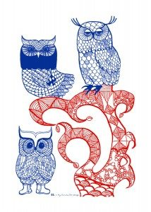 Lovely Owls Tea Towel red