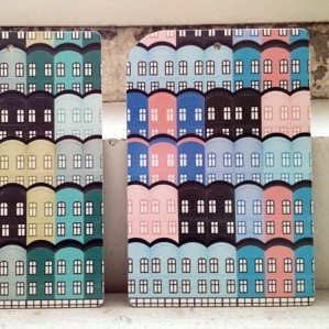 "Popular house house pattern ""Stad"" now as cutting boards! In pink/bluet as well as turquoise. Made in Sweden."