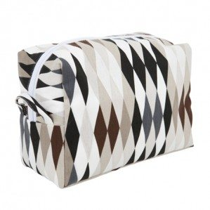 Harlequin toilet bag in sand, brown, black.