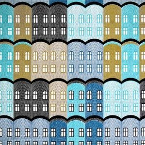 Stad fabrik in blue for Arvidssons Textil. Stad is a house patter, inspired by old Brittish factories. Stad fabrik comes in three colours; yellow, blue and green and is manufaktured by Arvidssons textil. For more info about where you can buy it have a look at: www.arvidssonstextil.se