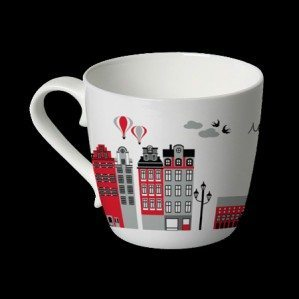 Finally it's here -the Mitt Stockholm-mug! Mitt Stockholm is the house pattern -as many of you know of- with some of Stockholms nicest and most characteristic buildings. It´s been on the market for a couple of years as textile and trays as well as cutting boards. You can buy Mitt Stockholm textile through Klippan Yllefabrik. The Mitt Stockholm mug is produced in bone china in red.