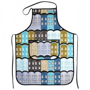 Stad apron in blue for Arvidssons Textil. Stad is a house patter, inspired by old Brittish factories. Stad fabrik comes in three colours; yellow, blue and green and is manufaktured by Arvidssons textil. For more info about where you can buy it have a look at: www.arvidssonstextil.se