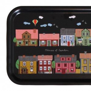 Houses of Sweden tray with colourful Swedish houses, in black, 43 x 33 cm Made in Sweden from birch laminate.