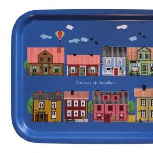 Houses of Sweden with colourful Swedish houses, in blue, 43 x 33 cm. Made in Sweden from birch laminate.