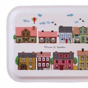 Houses of Sweden tray with colourful houses in white, 43 x 33 cm. Made in Sweden from birch laminate.