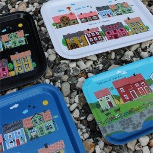 Houses of Sweden breakfast tray. This colourful tray with typical Swedish houses are made in Sweden from birch wood.