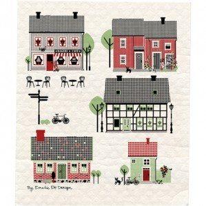 Houses of Sweden wettex med fina typiskt svenska hus i grönt. Tillverkad i Sverige.