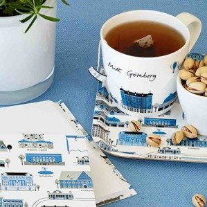 Mitt Göteborg mug and note book in blue, news for spring 2014, looks great on this picture by stylist Frida Svahn and photographer Michael Förster.