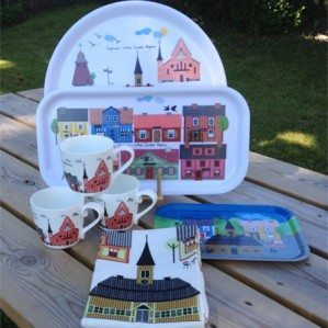 Sigtuna Collection! Coctail tray, round tray, breakfast tray, mugs, kitchen towel with lovely houses of Sigtuna...