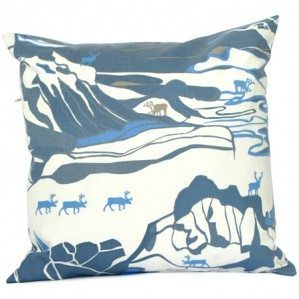 FJÄLL cushion cover 50 x 50 cm blue, Emelie Ek Design för Frösö Handtryck! Handprinted Surface pattern design of Fjells with reindeers on fabriks and on products like cushions, bags and aprons etc.