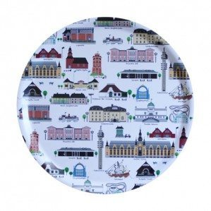 Mitt Djurgården round tray R38 cm with Djurgårdens nicest buildings, in many colours. Made in Sweden from birch wood.