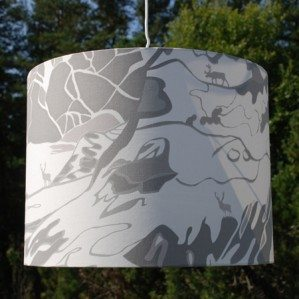 FJÄLL lamp shade grey 40 x 32 cm, Emelie Ek Design för Frösö Handtryck! Handprinted Surface pattern design of Fjells with reindeers on fabriks and on products like cushions, bags and aprons etc.