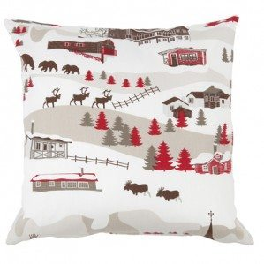 Mountain Village cushion cover for Klippan Yllefabrik with an imaginative pattern design of a mountain world with a mixture of mountain huts from Sweden, Norway but also a church from the alps of Chamonix f.ex. There is also animals like rein deer, bear as well as moose. The pattern comes in a coloration of beige, brown and red.