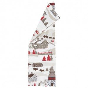 Mountain Village kitchen towel for Klippan Yllefabrik with an imaginative pattern design of a mountain world with a mixture of mountain huts from Sweden, Norway but also a church from the alps of Chamonix f.ex. There is also animals like rein deer, bear as well as moose. The pattern comes in a coloration of beige, brown and red.