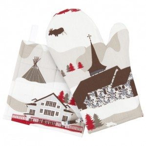 Mountain Village oven glove and pot holder for Klippan Yllefabrik with an imaginative pattern design of a mountain world with a mixture of mountain huts from Sweden, Norway but also a church from the alps of Chamonix f.ex. There is also animals like rein deer, bear as well as moose. The pattern comes in a coloration of beige, brown and red.