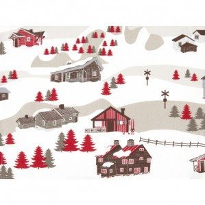 Mountain Village table mat for Klippan Yllefabrik with an imaginative pattern design of a mountain world with a mixture of mountain huts from Sweden, Norway but also a church from the alps of Chamonix f.ex. There is also animals like rein deer, bear as well as moose. The pattern comes in a coloration of beige, brown and red.