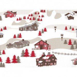 Mountain Village bordstablett för Klippan Yllefabrik med ett fantasifullt mönster som består av en en liten by i fjällen med en blandning av fjällstugor från både Åre, Sarek, Kebnekaise, Idre, Sälen, Oslo och en kyrka från Chamonix etc. Där finns också djur som, ren, björn samt älg. Mönstret ha en färgskala av beige, brunt och rött.
