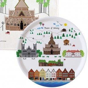 Houses of Norway Collection comes as trays in different sizes as well as a kitchen towel and a mug etc.