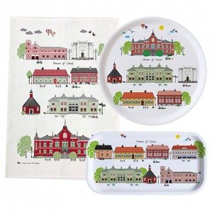 Houses of Umeå Collection comes as tray in different sizes, kitchen towel and a mug etc.