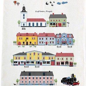 Houses of Alingsås kökshandduk. Tillverkad i Sverige av halvlinne.