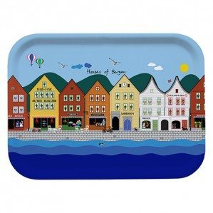 Houses of Bergen breakfast tray multi 27 x 20 cm. Made from birch in Sweden.