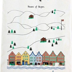 Houses of Bergen kitchen towel. Made in Sweden from half linnen.