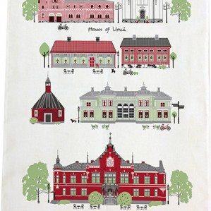 Houses of Umeå kökshandduk. Tillverkad i Sverige av halvlinne.