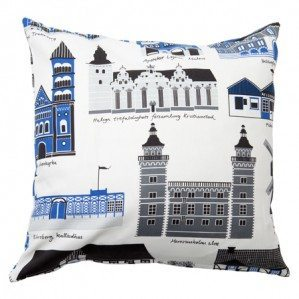 Mitt Skåne cushion cover in blue for Klippan Yllefabrik. For Mitt Skåne pattern design I've illustrated the nicest and most characteristic buildings from all over Skåne, in  the south of Sweden. Mitt Skåne textile fabrik products are manufaktured by Klippan Yllefabrik. For more info about where you can buy it have a look at: www.klippanyllefabrik.se
