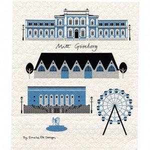 Mitt Göteborg disktrasa i blått. Tillverkad i Sverige.Mitt Göteborg wettex i blue. made in Sweden.
