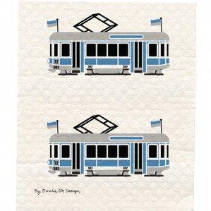 Trains (spårvagnar) wettex i blått. Tillverkad i Sverige.