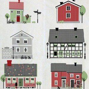 Houses of Sweden kökshandduk i grönt med fina typiskt svenska hus. Tillverkad i Sverige av bomull/linne.