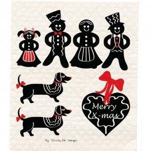 Gingerbread wettex finns nu i en svart färgställning inför julens alla bjudningar. Kanske lite roligare att städa upp efter sig i köket efter alla roliga jul-fester hemma, med dessa fina svarta pepparkaksfigurer!