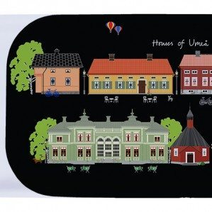Houses of Umeå coctailbricka svart. 43 x 22 cm. Tillverkad i Sverige av björklaminat.